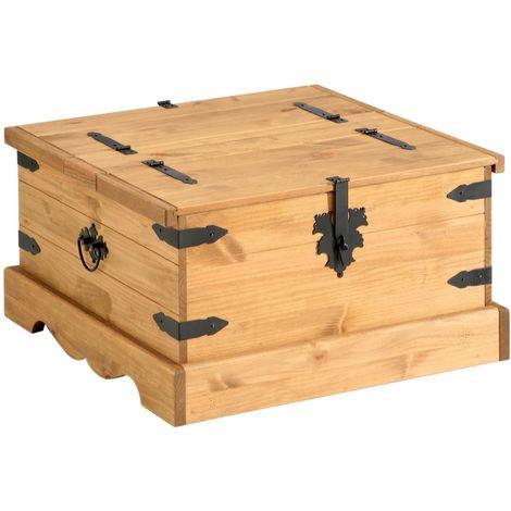 table basse de salon tequila coffre malle de rangement carre en bois style mexicain en pin massif finition teintee et ciree