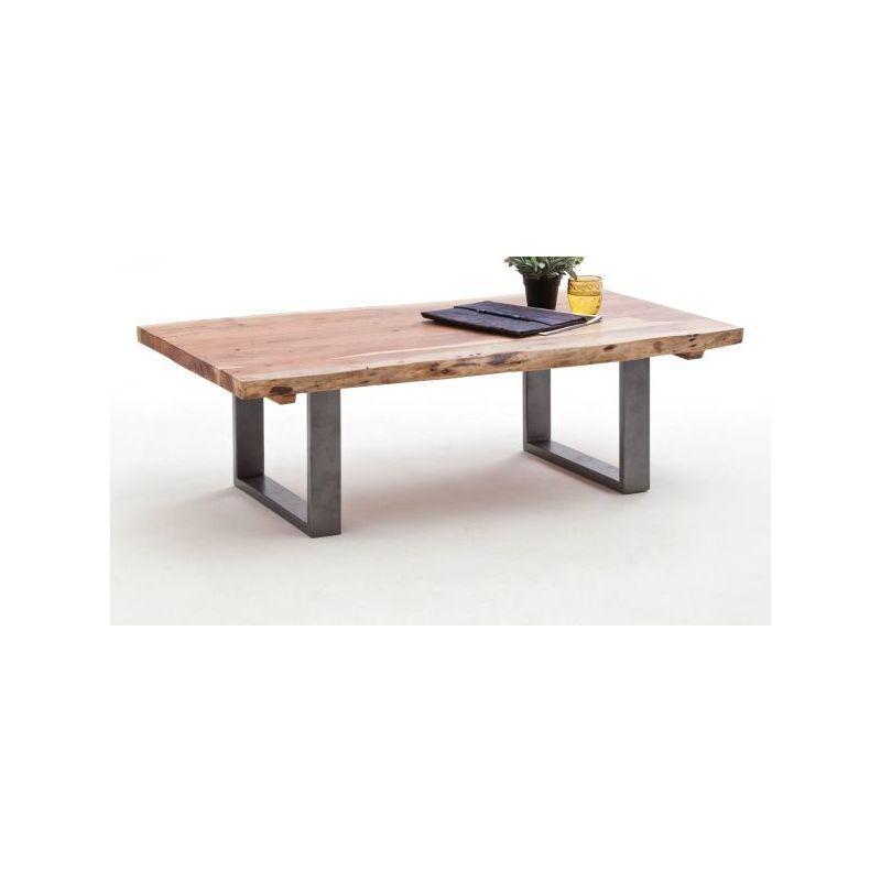 table basse en bois d acacia naturel avec pieds en metal laque noir l130 x h70 x p40 cm pegane