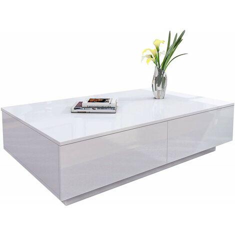 table basse rectangle laque blanc brillant 4 tiroirs de rangement