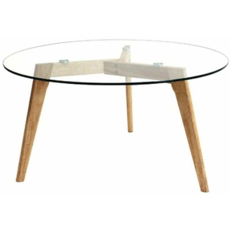 table basse ronde design bois et verre alexia diam 80 x h 45 cm beige beige