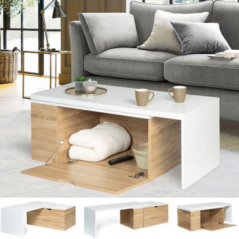 table basse rotative bois et blanc 360 lizzi extensible avec coffre