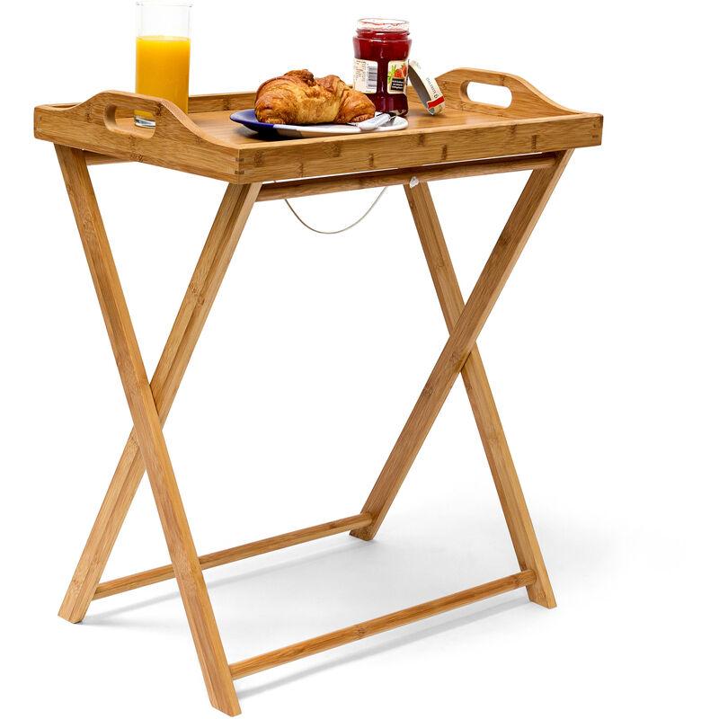 table d appoint pliante pliable en bambou desserte cuisine plateau amovible h x l x p 63 5 x 55 x 35 cm table de service balcon terrasse en bois