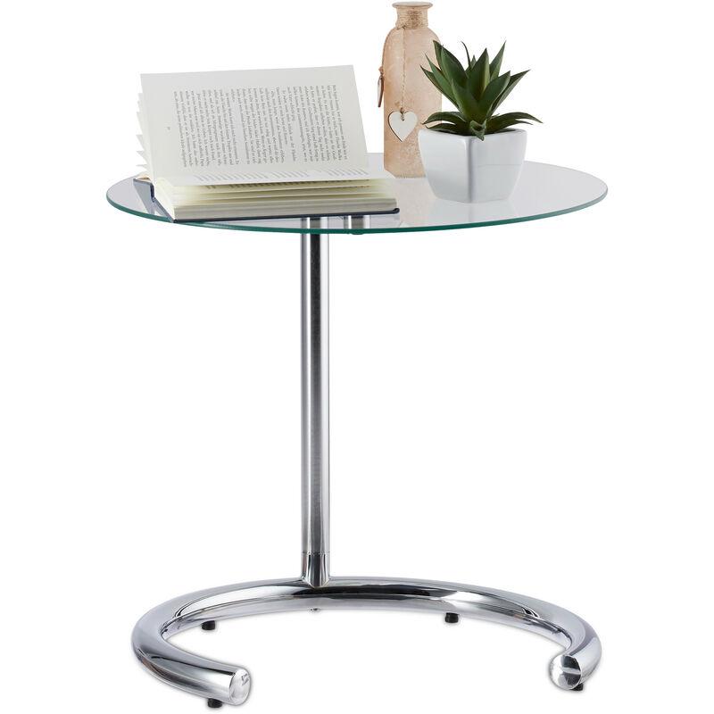 Table D Appoint Reglable En Hauteur Max 70 Cm Chromee Ronde Table Cafe Surface En Verre 46 Cm O Argente 1100245511469