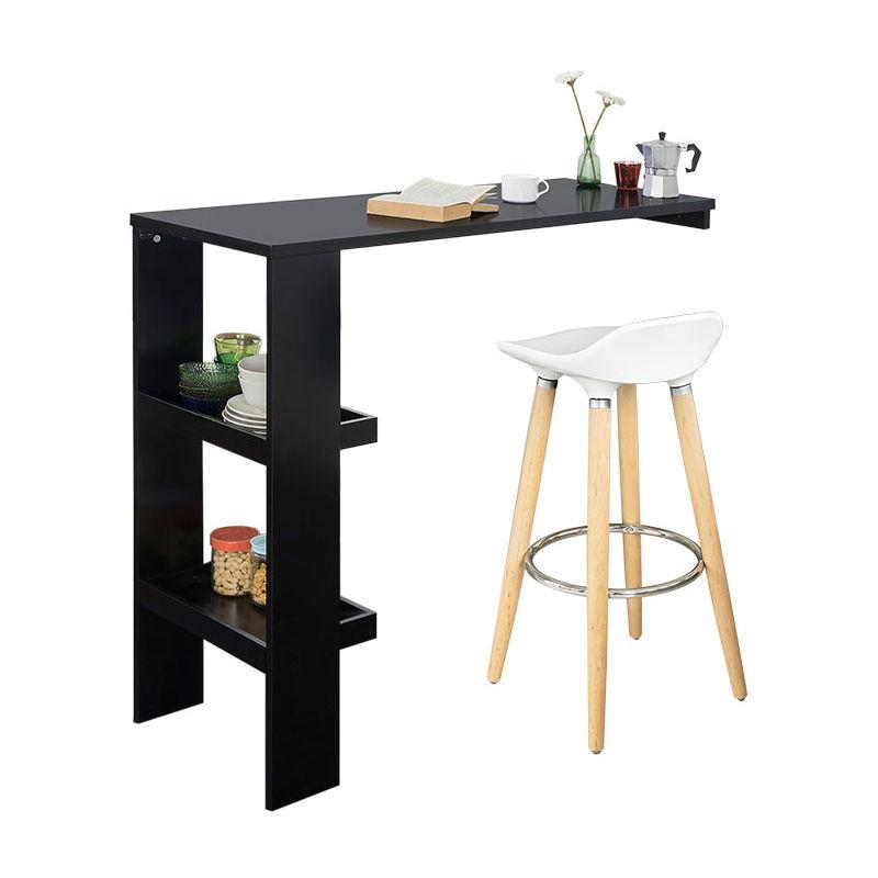 table de bar murale table haute de bar mange debout cuisine avec 2 etageres de rangement noir fwt55 sch sobuy