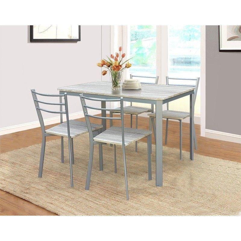 table de cuisine et salle a manger 4 chaises athenes gris et sonoma gris