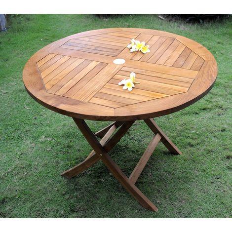 table ronde pliante en teck huile 100