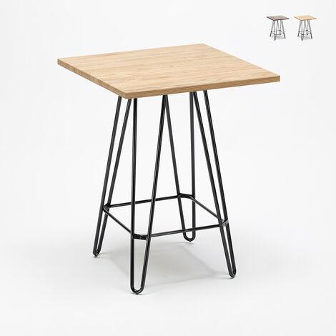 table haute industrielle pour tabourets 60x60 metal acier bois bolt
