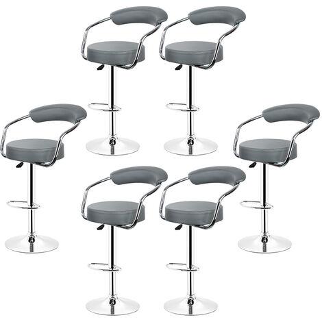 tabourets de bar de cuisine imitation cuir chaise reglable en hauteur 55 a 75 cm lot de 4 gris