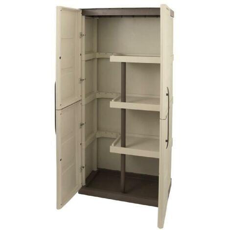 tood armoire de rangement haute en resine 3 tablettes avec porte balai