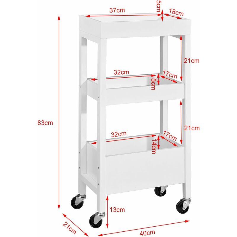 tour de rangement desserte chariot de stockage en bois meuble de rangement 3 etageres 4 roulettes blanc sobuy fkw49 w