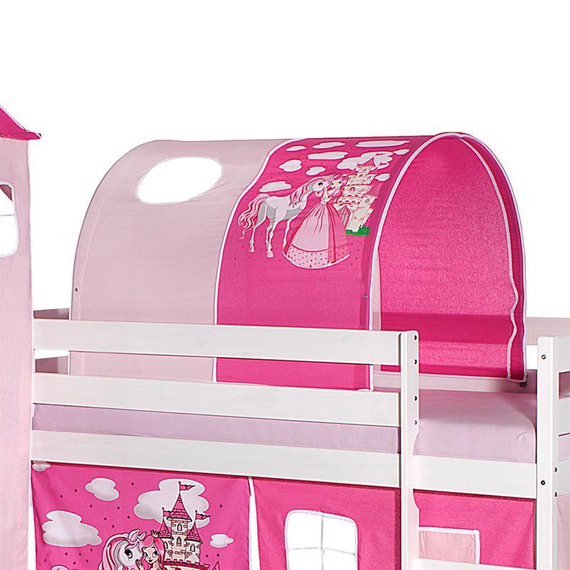 tunnel tente pour lit sureleve superpose mi hauteur mezzanine tissu coton motif princesse rose