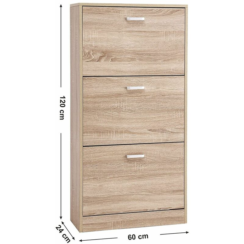 vasagle meuble a chaussures a 3 abattants placard de rangement a 3 niveaux 3 compartiments pour petite entree salon chambre 60 x 24 x 120 cm l