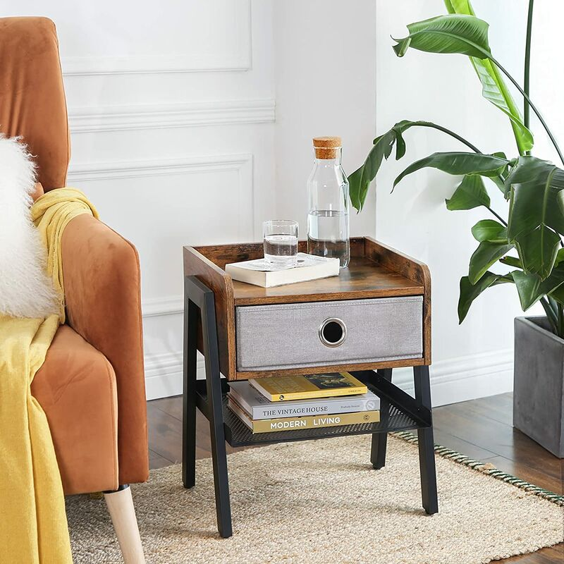 vasagle table de chevet table d appoint de style industriel avec tiroir en tissu non tisse montage facile armature metallique pour salon
