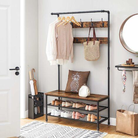 vasagle vestiaire de style industriel porte manteau meuble d entree avec etagere a chaussures 9 crochets multifonction armature metallique