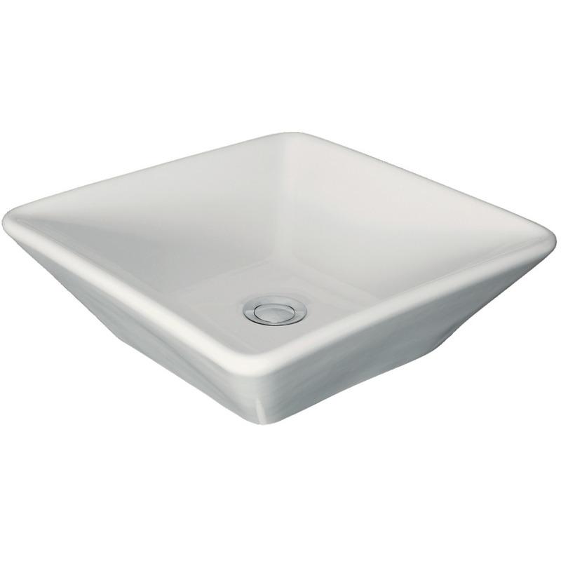 Vasque A Poser Ancozen Carre En Ceramique Sans Trop Plein Et Sans Plage De Robinetterie Blanc 7498925
