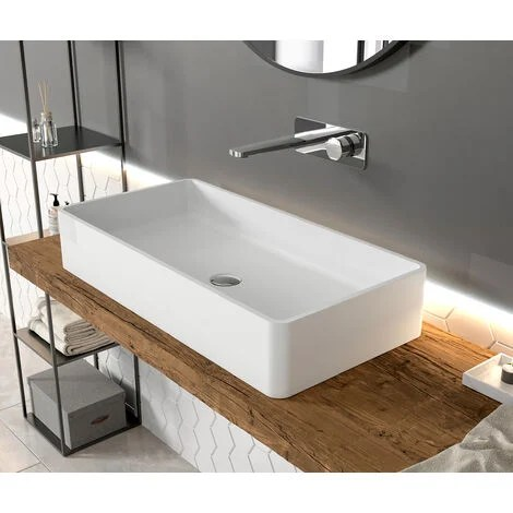 Vasque A Poser En Solide Surface Pb2013 80 X 40 X 14 5 Cm Blanc Mat