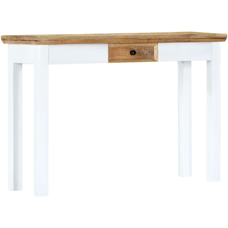 vidaxl table console blanc et marron 110x35x75 cm bois manguier massif