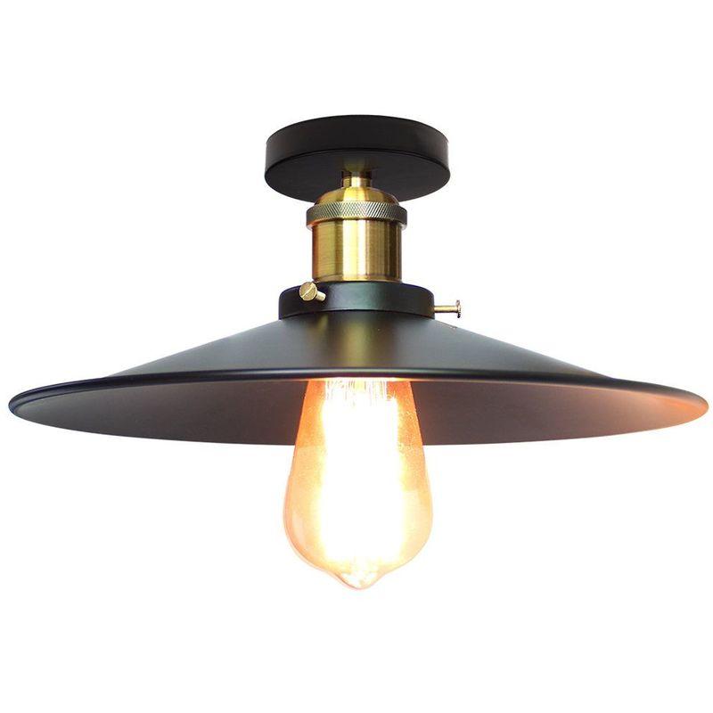 vintage plafonnier industriel retro en metal o36cm lustre luminaire l eclairage pour chambre salon cuisine couloir noir