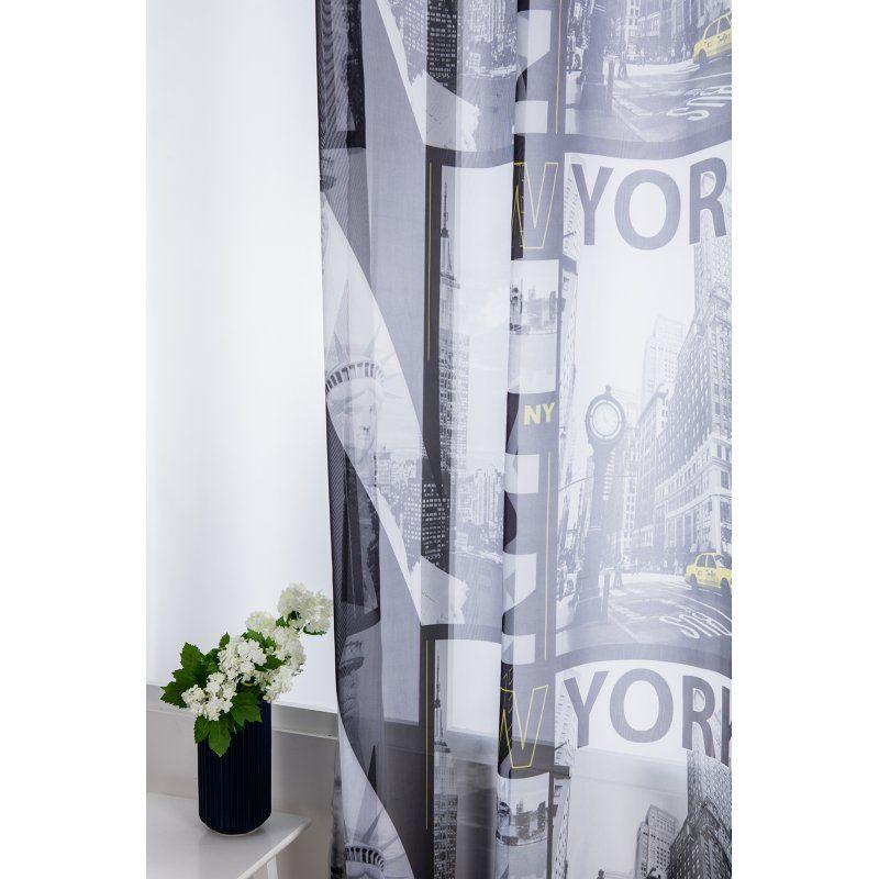 new york noir blanc jaune gris rideaux