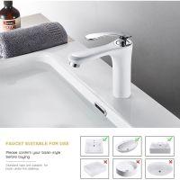 Wasserhahn Bad Einhebel Mischbatterie Waschtischarmatur Weiße Armatur Waschbecken für Badezimmer ...