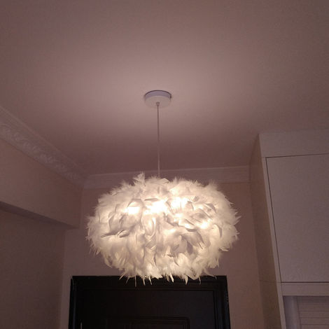 White Feather Ceiling 45cm Pendant Light Shade Modern