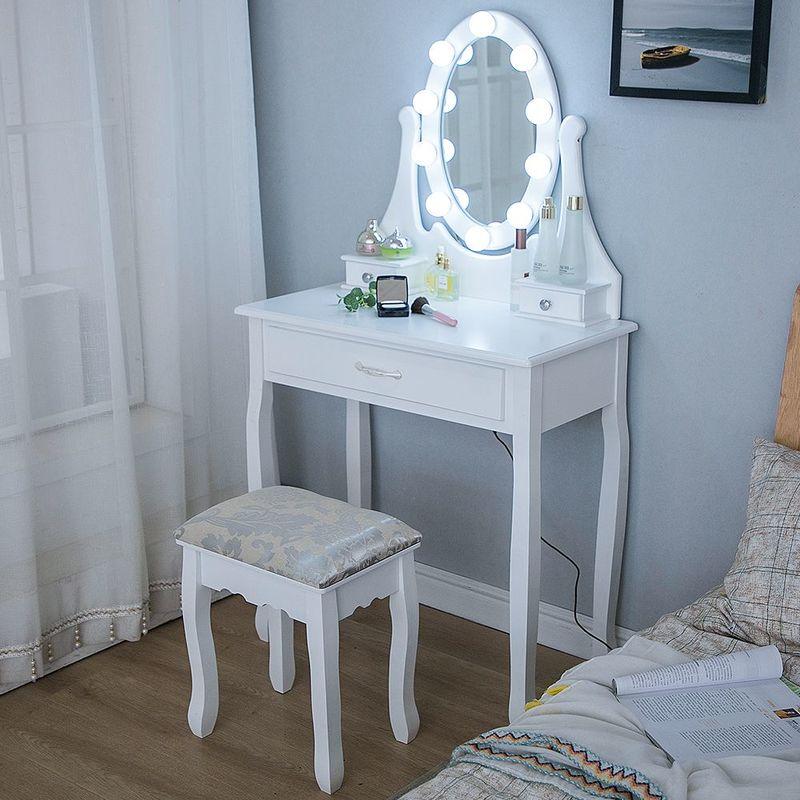 wihobby coiffeuse avec lumiere led et tabouret miroir ovale table de maquillage a 3 tiroirs romantique blanc blanc