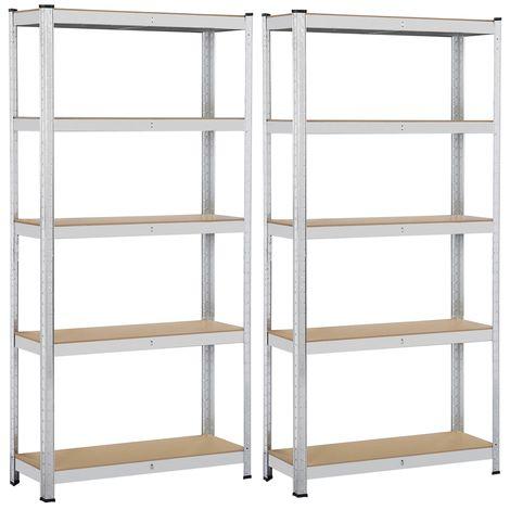 yaheetech lot de 2 etageres de rangement charge lourde meuble de garage ratelier cuisine salon 90 30 180 cm acier galvanise mdf capacite de chaque