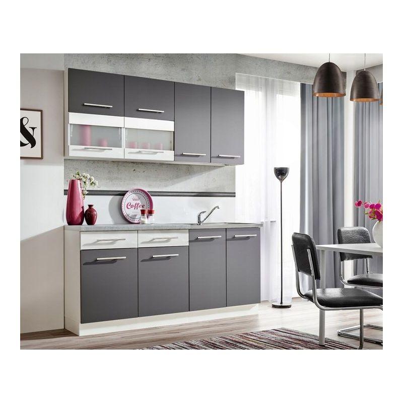 zante 180 cuisine complete moderne l 1 8m 6 pcs plan de travail inclus ensemble meubles armoires cuisine lineaire gris blanc gris blanc