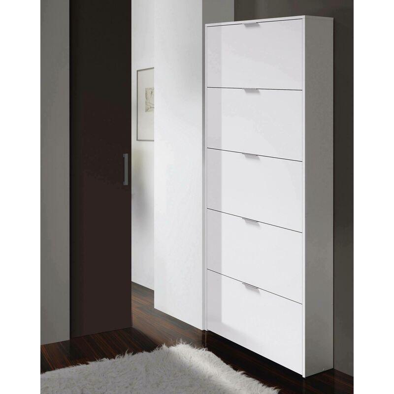 meuble chaussures 70 x 17 x 180 cm blanc brillant