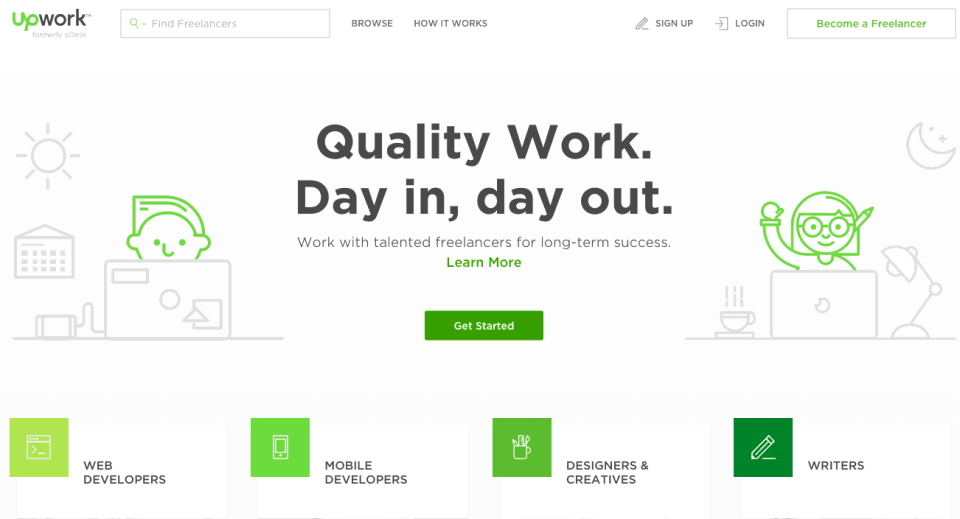 Upwork offers lot of ways to make money online