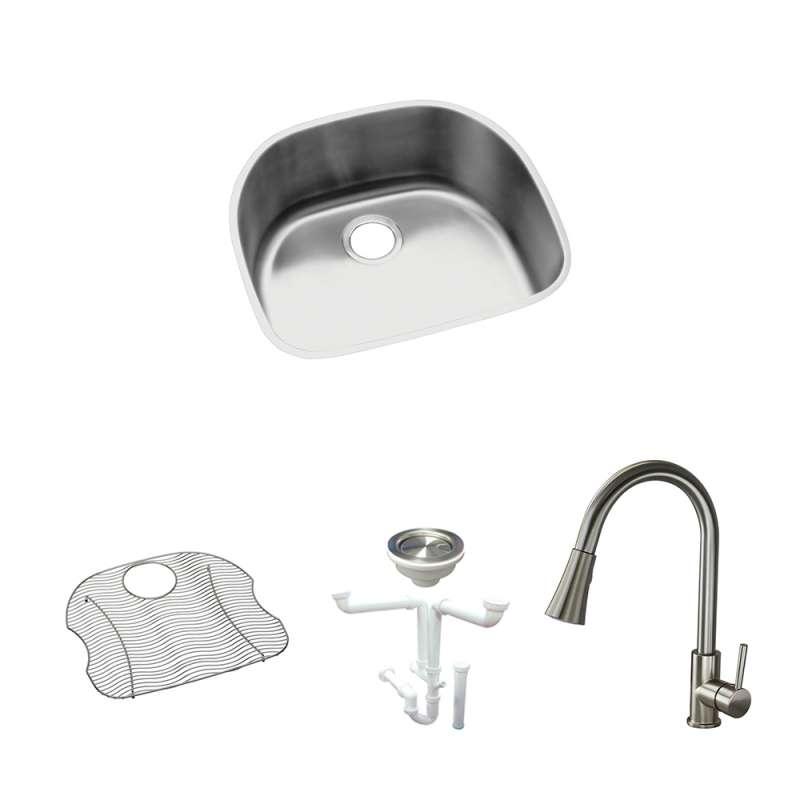 elkay harmony lustertone stainless steel 24 in undermount kitchen sink kit with kitchen sink bottom grid faucet strainer drain installation kit kf eluh2118