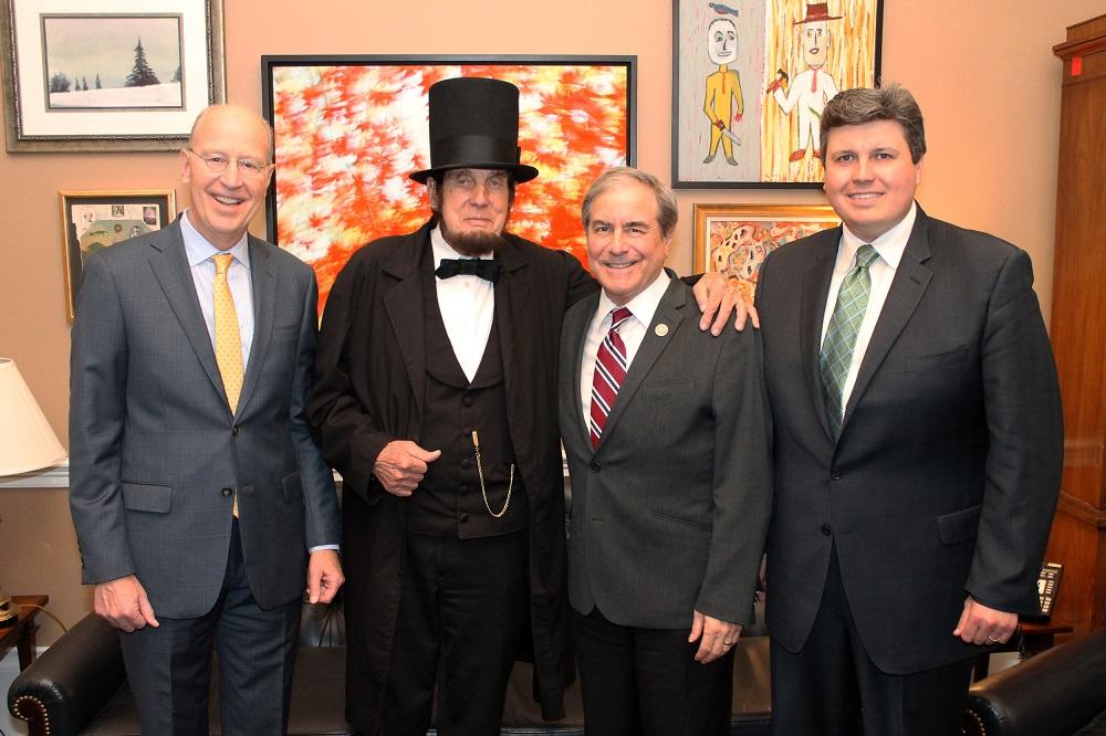 From left to right: Bill Goodman, executive director of the Kentucky Humanities Council, Jim Sayre, Abraham Lincoln Kentucky Chautauqua presenter, Kentucky Rep. <a class=