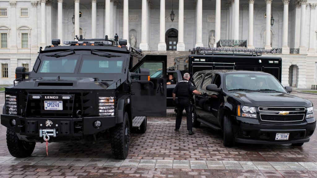 UNITED STATES - SEPTEMBER 16: An armored police vehicle sits on the East Plaza of the Capitol as U.S. Capitol Police conduct enhanced security operations around the Capitol Complex as a proactive measure related to the Navy Yard shooting incident in Washington on Monday, Sept. 16, 2013. (Photo By Bill Clark/CQ Roll Call)