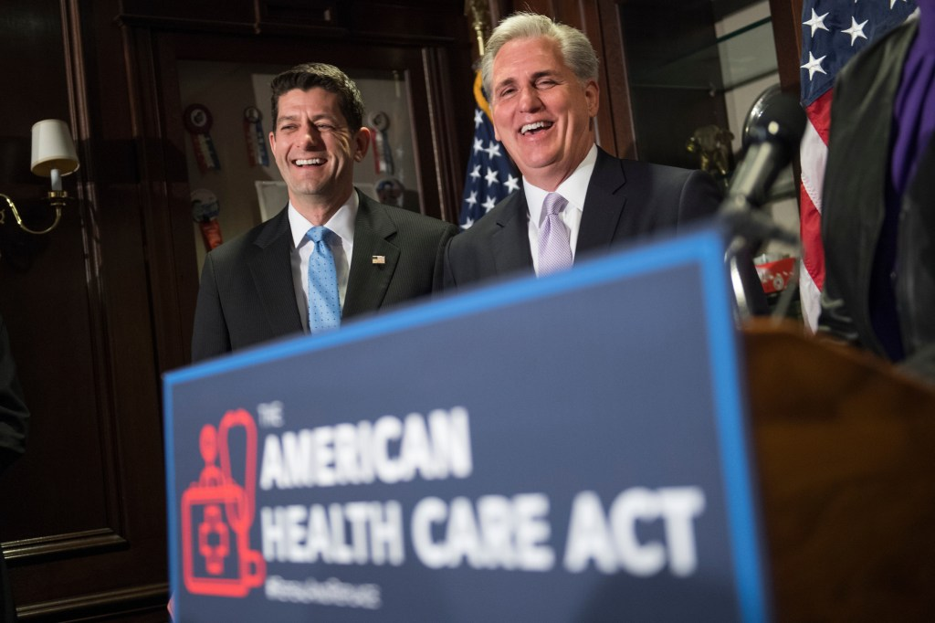 Ryan and House Majority Leader Kevin McCarthy, R-Calif., conduct a news conference at the RNC where they discussed the House Republican's new health care plan on Wednesday. (Tom Williams/CQ Roll Call)