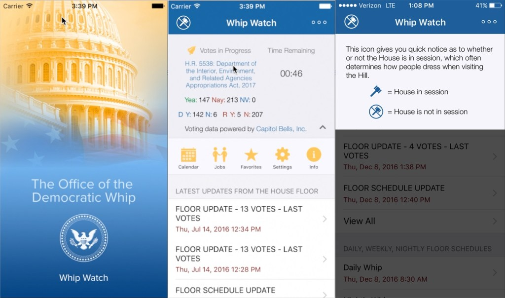 Screenshots of 'Whip Watch' 2.0. (Courtesy Hoyer's office)