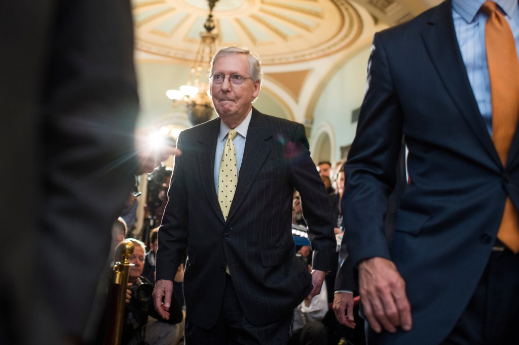 UNITED STATES - APRIL 25: Senate Majority Leader Mitch McConnell, R-Ky., leaves a news conference in the Capitol after the Senate Policy luncheons on April 25, 2017. (Photo By Tom Williams/CQ Roll Call)