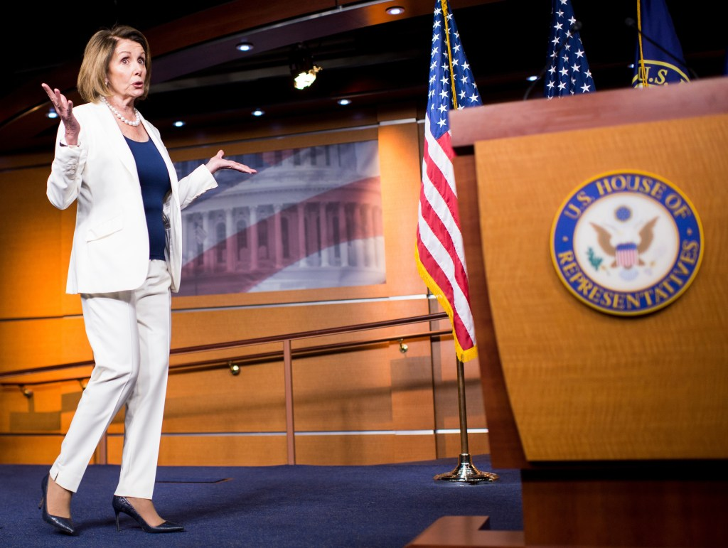 UNITED STATES - APRIL 27: House Minority Leader Nancy Pelosi, D-Calif., holds her weekly news conference in the Capitol on Thursday, April 27, 2017. (Photo By Bill Clark/CQ Roll Call)