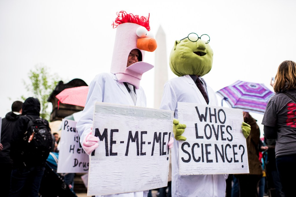 UNITED STATES - APRIL 22: Marchers prepare to start the March for Science down Constitution Avenue in Washington on Earth Day, Saturday, April 22, 2017. Thousands of pro-science and environmental activists rallied on the National Mall before marching towards the Capitol. (Photo By Bill Clark/CQ Roll Call)