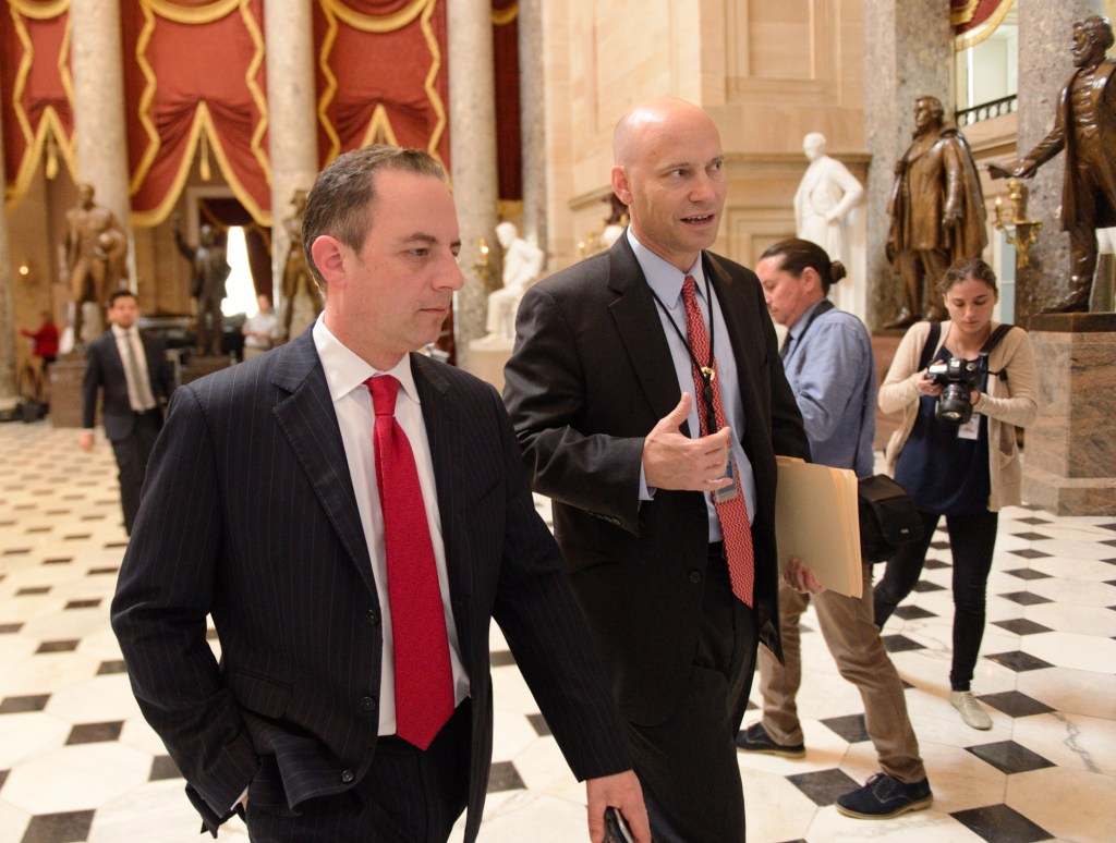 White House Chief of Staff Reince Priebus arrives at the House leadership suite ahead of the health care vote on Thursday. (Bill Clark/CQ Roll Call)