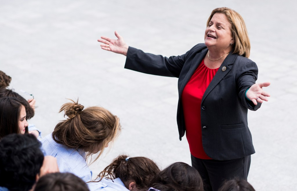 UNITED STATES - MAY 4: Rep. Ileana Ros-Lehtinen, R-Fla., speaks with a school group on the House steps at the Capitol after a series of votes on repeal and replace of Obamacare on Thursday, May 4, 2017. (Photo By Bill Clark/CQ Roll Call)