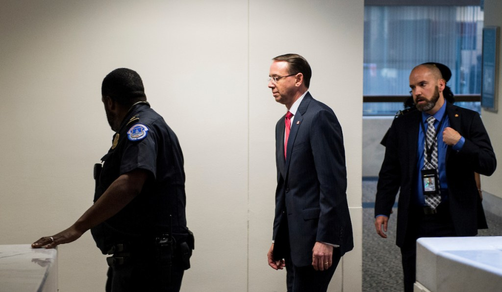 Deputy Attorney General Rod Rosenstein leaves the Hart Senate Office Building after meeting a meeting in the Senate Intelligence Committee' secure office on Thursday, May 11, 2017. (Bill Clark/CQ Roll Call)
