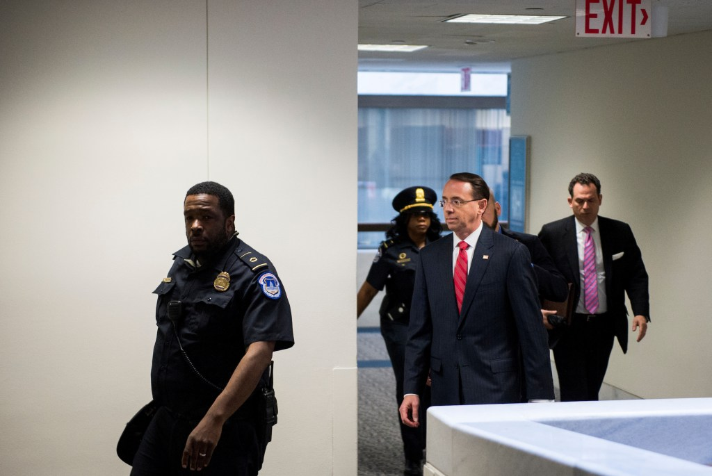 UNITED STATES - MAY 11: Deputy Attorney General Rod Rosenstein leaves the Hart Senate Office Building after meeting a meeting in the Senate Intelligence Committee' secure office on Thursday, May 11, 2017. (Photo By Bill Clark/CQ Roll Call)