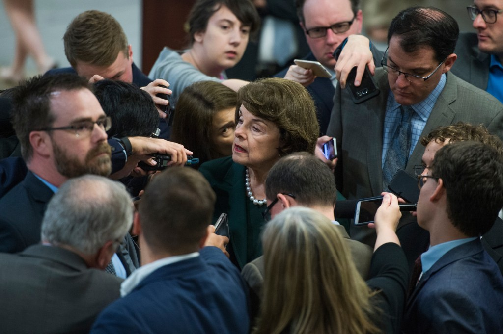 UNITED STATES - MAY 17: Sen. Dianne Feinstein, D-Calif., talks with reporters in the senate subway before a vote in the Capitol on May 17, 2017. (Photo By Tom Williams/CQ Roll Call)