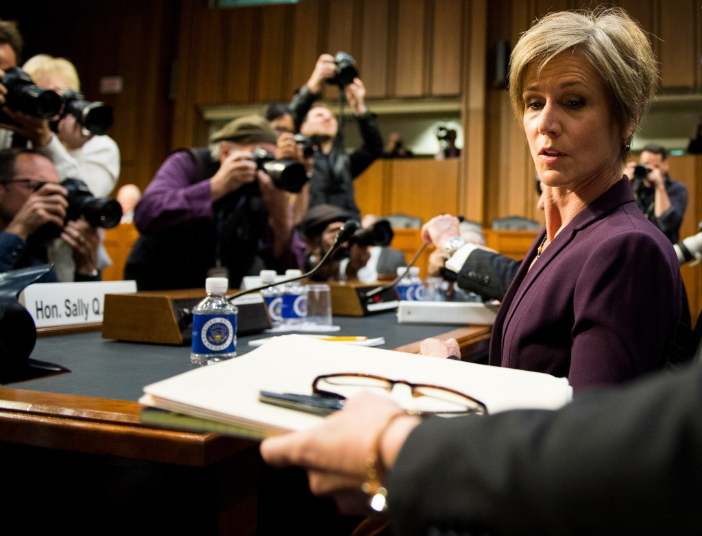 Former acting Attorney General Sally Yates takes her seat for the hearing. (Bill Clark/CQ Roll Call)