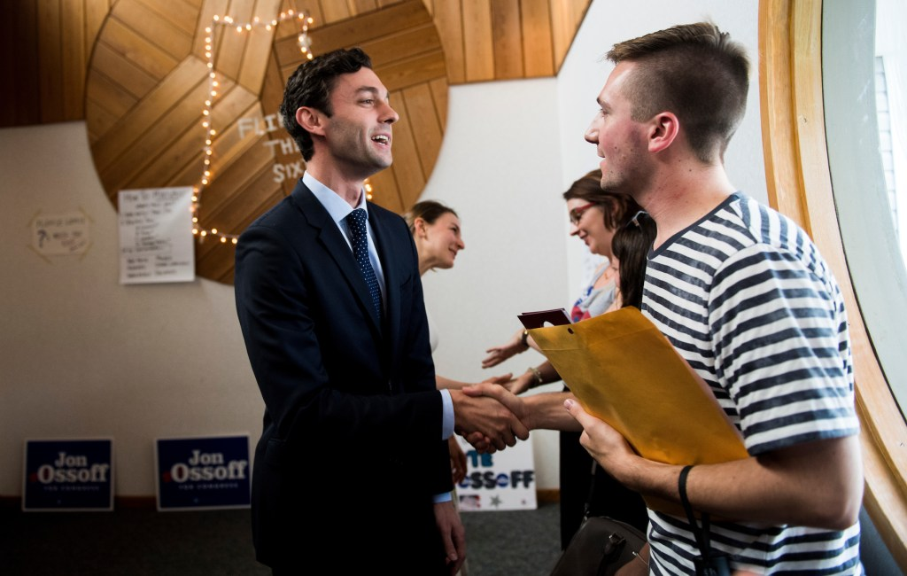 UNITED STATES - JUNE 18: Democratic candidate for Georgia's 6th Congressional district Jon Ossoff shakes hands with campaign workers and volunteers at his