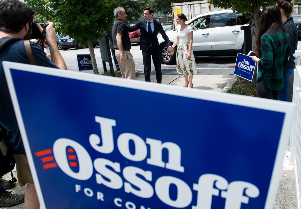 UNITED STATES - JUNE 18: Democratic candidate for Georgia's 6th Congressional district Jon Ossoff, center, arrives with his father Richard Ossoff and his fiancee Alisha Kramer for his