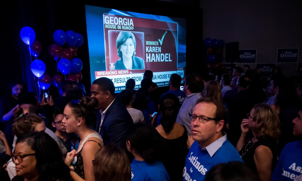 A TV shows the moment CNN called the Georgia 6th District special election for Republican Karen Handel over Democrat Jon Ossoff. (Bill Clark/CQ Roll Call)