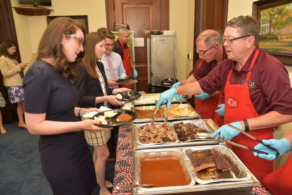 Staffers at Thursday's barbecue lunch catered by Sam's BBQ-1 of Marrieta, Georgia. (Courtesy Sen. Johnny Isakson's office)