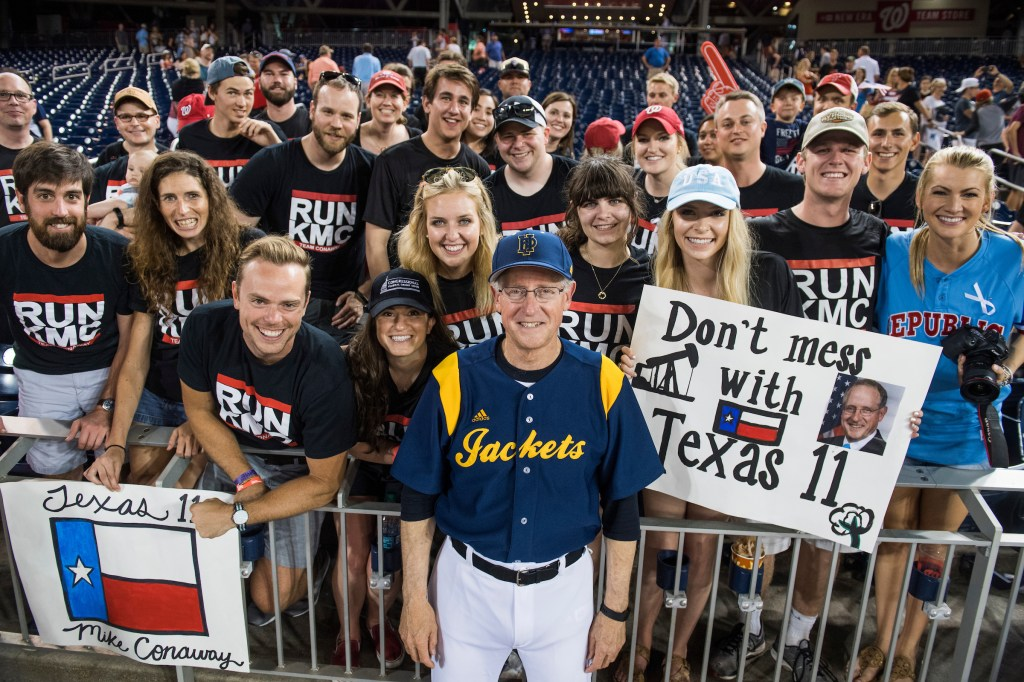 UNITED STATES - JUNE 15: Rep. Mike Conaway, R-Texas, poses with fans during the 56th Congressional Baseball Game at Nationals Park on June 15, 2017. (Photo By Tom Williams/CQ Roll Call)