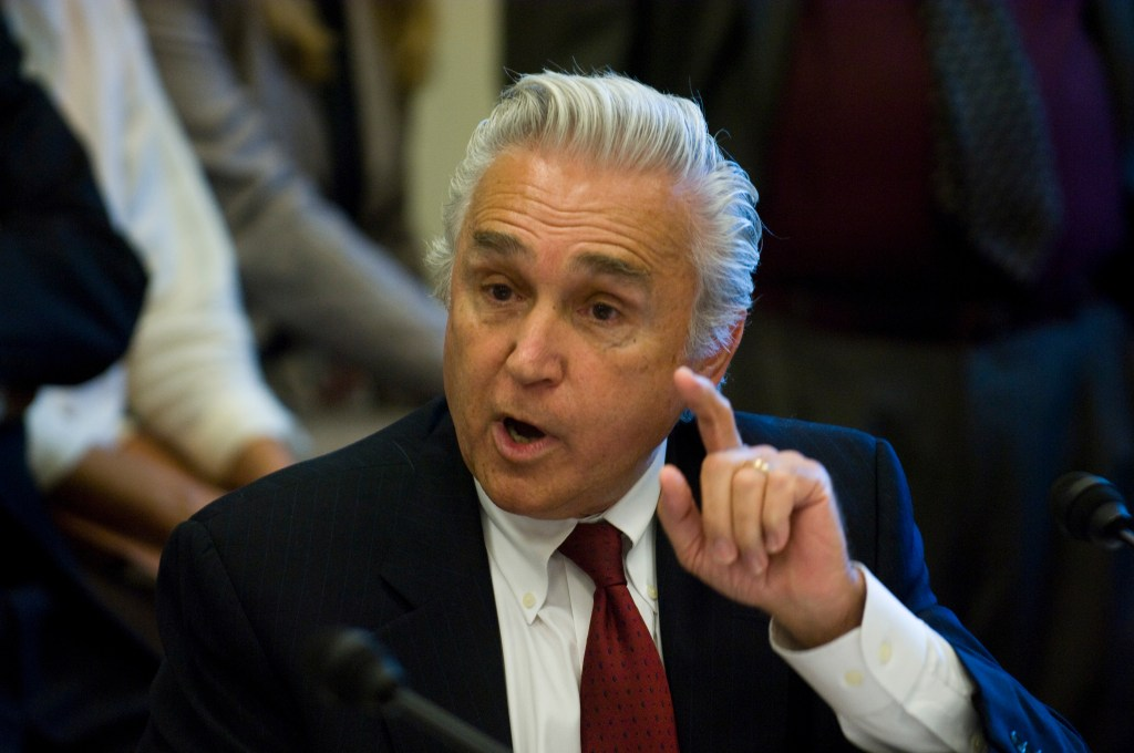 WASHINGTON, DC - June 11: Rep. Maurice D. Hinchey, D-N.Y., during the House Appropriations Interior-Environment Subcommittee markup of legislation that would boost funding for environmental and American Indian programs above this year's levels. The panel approved the draft measure by voice vote Wednesday after defeating a Republican amendment intended to bring energy policy into the debate. The full Appropriations Committee is scheduled to mark up the bill June 18. The bill would direct $27.9 billion in discretionary spending to the EPA, Interior Department, U.S. Forest Service, Smithsonian Institution and other cultural programs. The spending total would be $1.3 billion more than the amount provided for fiscal 2008 (PL 110-161) and $2.1 billion more than President Bush requested. Subcommittee Chairman Norm Dicks, D-Wash., criticized the president's proposal as below the level